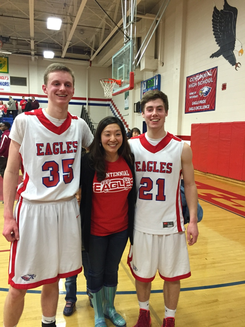 Eli Geist and Kevin Wilson pose with Teacher of the Year, Mrs. Chung.
