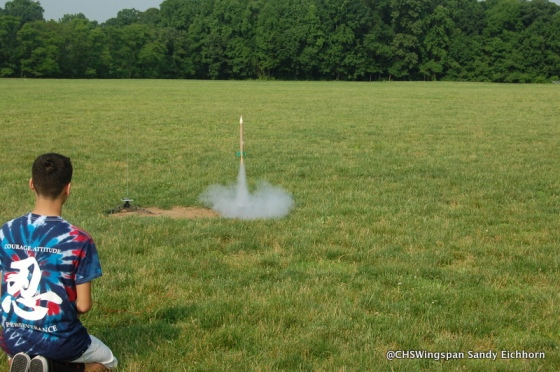 Freshman Fabrizio Dulanto shoots off his rocket on Friday, June 12. Ms. Smith and Mr. Sendin's classes participated in the annual activity.