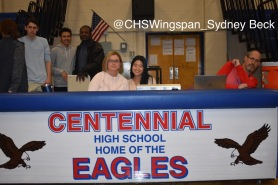 Centennial teacher and organizer Mrs. Kristin Taylor and senior Terry Kim